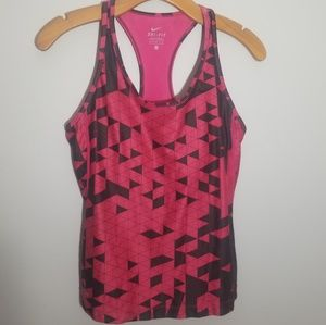 Nike Dri Fit small pink black racer back tank